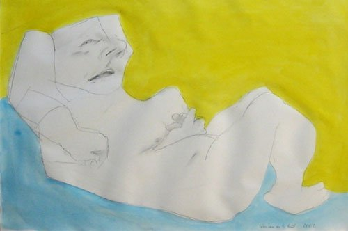 Maria Lassnig, Woman in the Bed, 2002