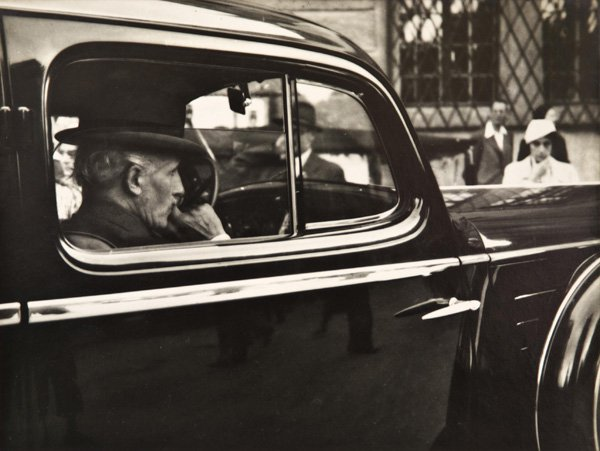 Conductor Arturo Toscanini, outside the Salzburg Festspielhaus